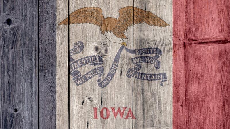 Ξύλινος φράκτης σημαιών της Αϊόβα αμερικανικού κράτους στοκ φωτογραφία