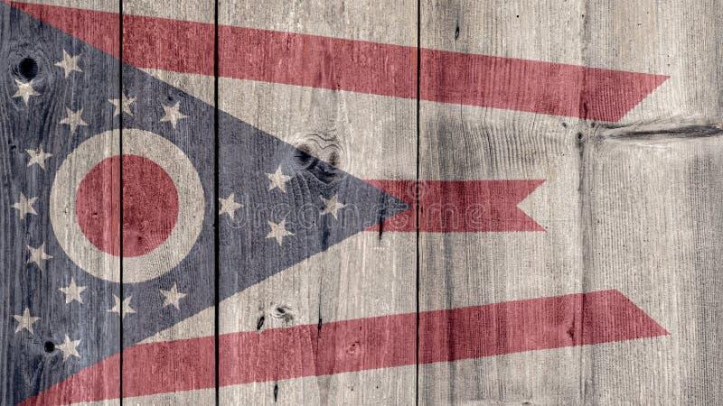 Ξύλινος φράκτης σημαιών του Οχάιου αμερικανικού κράτους στοκ εικόνες