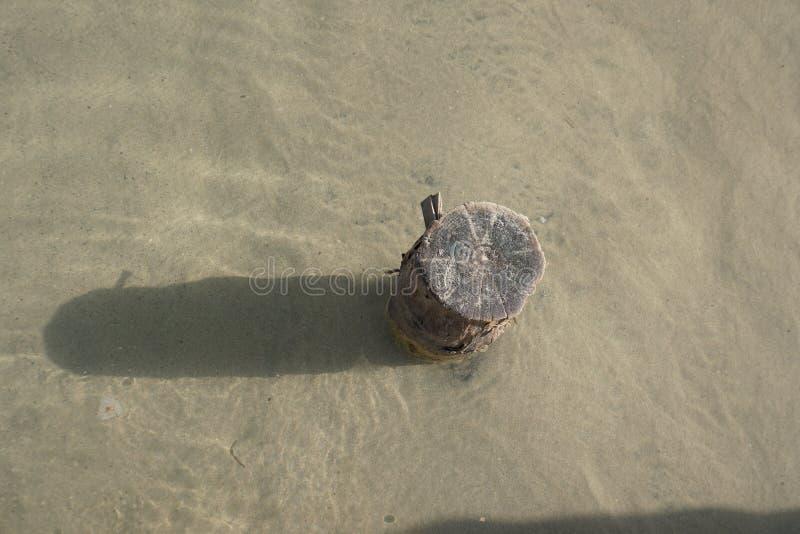 Ξύλινος φράκτης στην άμμο στο κατώτατο σημείο της λίμνης στοκ φωτογραφία με δικαίωμα ελεύθερης χρήσης