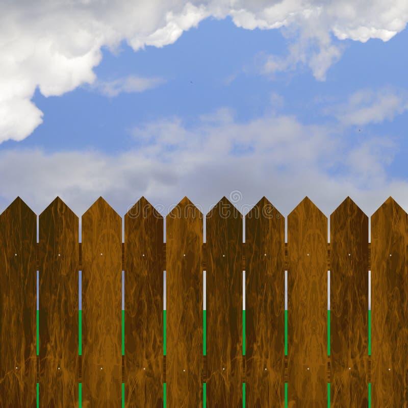 Ξύλινος φράκτης στο μπλε ουρανό ελεύθερη απεικόνιση δικαιώματος
