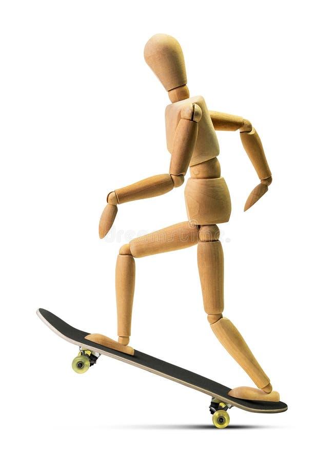 Ξύλινο άτομο skateboarder που απομονώνεται στοκ εικόνες