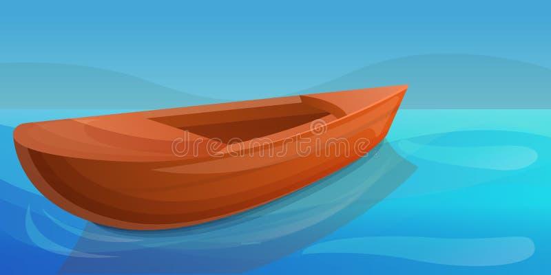 Ξύλινο έμβλημα έννοιας λιμνών βαρκών, ύφος κινούμενων σχεδίων ελεύθερη απεικόνιση δικαιώματος
