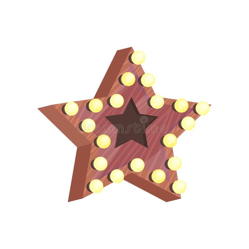 Ξύλινο αστέρι με τα μικρά φω'τα βολβών Στοιχείο ντεκόρ για το βεστιάριο Εξάρτημα για την εγχώρια διακόσμηση Επίπεδο διανυσματικό  διανυσματική απεικόνιση