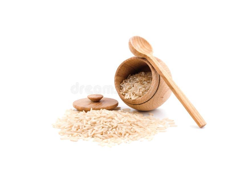 Ξύλινο βάζο για το ρύζι στοκ φωτογραφία