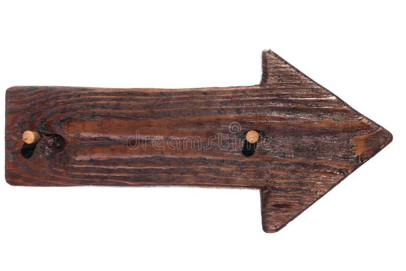 Ξύλινο βέλος, ο δείκτης του ξύλου με ένα ξύλινο φίμωμα απομονωμένος στοκ φωτογραφία με δικαίωμα ελεύθερης χρήσης