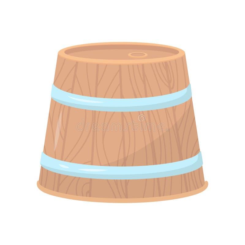 Ξύλινο βαρέλι με δύο στεφάνες μετάλλων Μεγάλο στρογγυλό εμπορευματοκιβώτιο για τα οινοπνευματώδη ποτά Επίπεδο διανυσματικό σχέδιο απεικόνιση αποθεμάτων