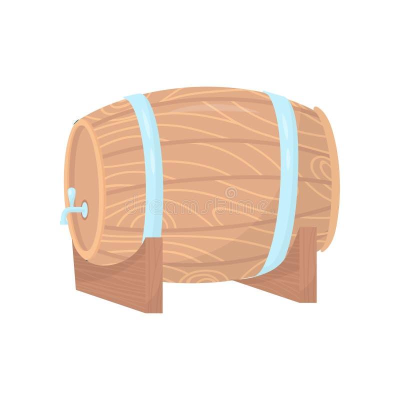 Ξύλινο βαρέλι με τη βρύση μετάλλων και στεφάνες στη στάση Εμπορευματοκιβώτιο για την μπύρα ή το κρασί Επίπεδο διανυσματικό στοιχε διανυσματική απεικόνιση
