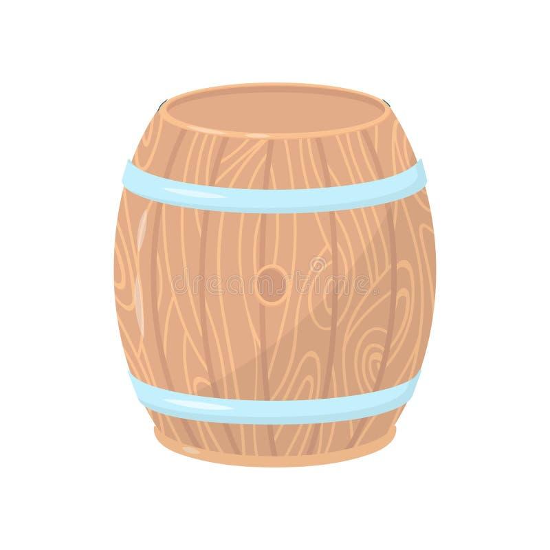 Ξύλινο βαρέλι με τις στεφάνες μετάλλων Κυλινδρικό εμπορευματοκιβώτιο φιαγμένο από ξύλο Επίπεδο διανυσματικό στοιχείο για την αφίσ ελεύθερη απεικόνιση δικαιώματος
