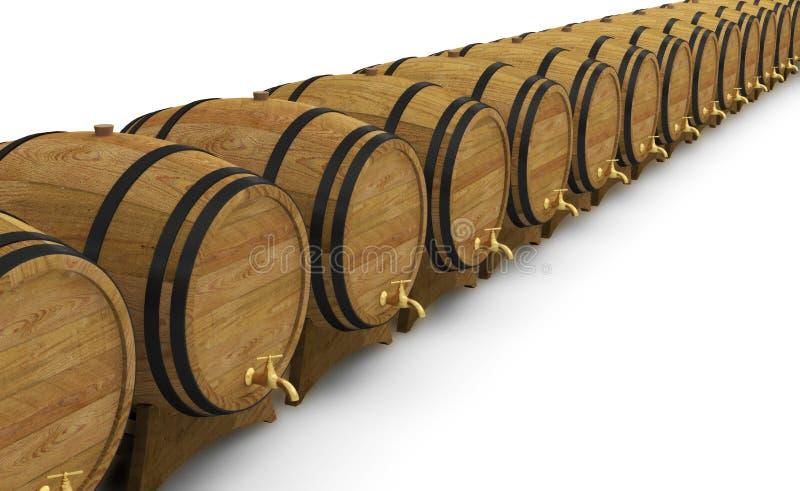 Ξύλινο βαρέλι μπύρας οινοπνεύματος βαρελιών κρασιού απεικόνιση αποθεμάτων