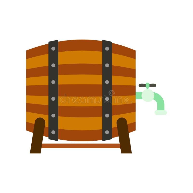 Ξύλινο βαρέλι της μπύρας με ένα εικονίδιο βρυσών απεικόνιση αποθεμάτων