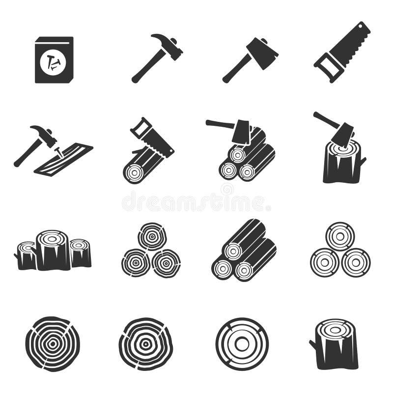 Ξύλινο διανυσματικό σύμβολο εικονιδίων στοκ φωτογραφία