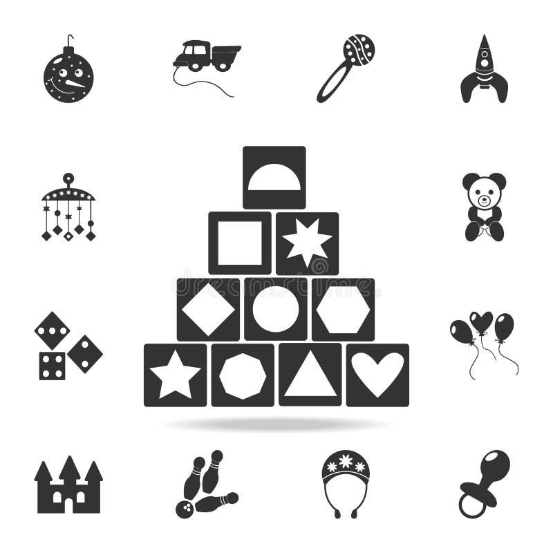 Ξύλινο εικονίδιο παιχνιδιών οικοδόμησης φραγμών Λεπτομερές σύνολο εικονιδίων παιχνιδιών μωρών Γραφικό σχέδιο εξαιρετικής ποιότητα απεικόνιση αποθεμάτων