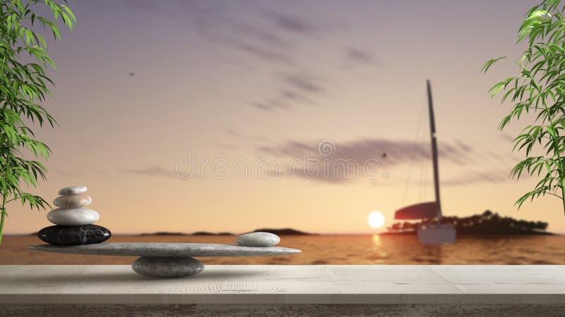 Ξύλινο εκλεκτής ποιότητας πίνακας ή ράφι με την ισορροπία πετρών, πέρα από το θολωμένο πανόραμα θάλασσας με το φωτεινή ηλιοβασίλε στοκ εικόνες