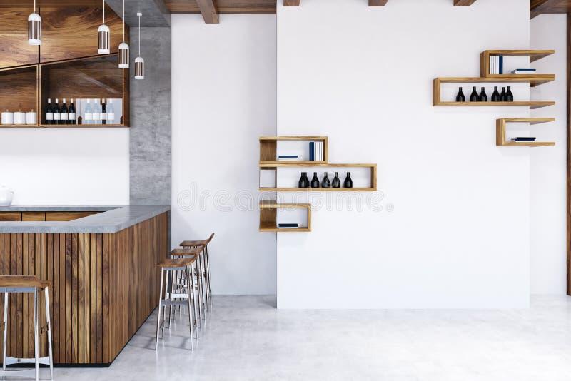 Ξύλινο εσωτερικό φραγμών, σκαμνιά και μπουκάλια, τοίχος ελεύθερη απεικόνιση δικαιώματος