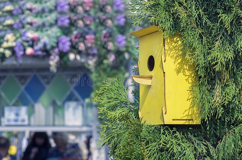 Ξύλινο κίτρινο birdhouse σε ένα δέντρο Σπίτι για τα πουλιά χειροποίητα στοκ φωτογραφίες