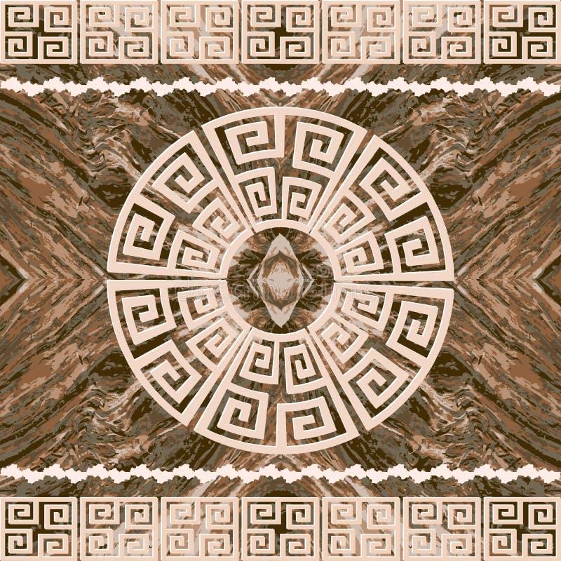 Ξύλινο κατασκευασμένο ελληνικό άνευ ραφής σχέδιο συνόρων Αφηρημένο διακοσμητικό ξύλινο υπόβαθρο Επαναλάβετε το γεωμετρικό σκηνικό διανυσματική απεικόνιση