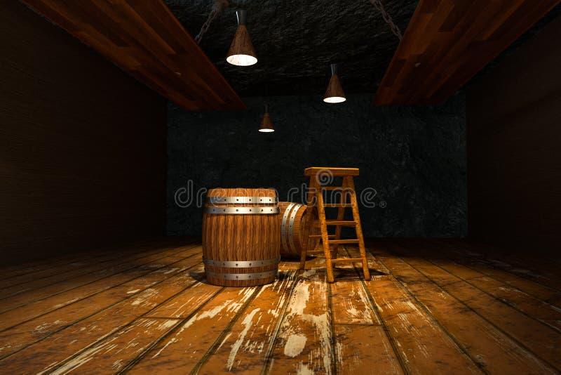 Ξύλινο κελάρι με τα βαρέλια και τη σκάλα μέσα, εκλεκτής ποιότητας αποθήκη εμπορευμάτων ποτών, τρισδιάστατη απόδοση διανυσματική απεικόνιση
