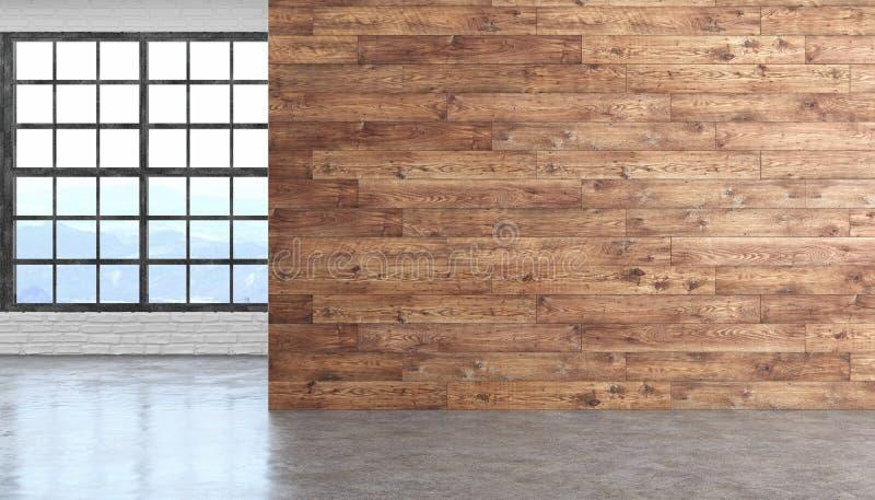Ξύλινο κενό εσωτερικό δωματίων σοφιτών με το τσιμεντένιο πάτωμα, παράθυρο και brickwall ελεύθερη απεικόνιση δικαιώματος