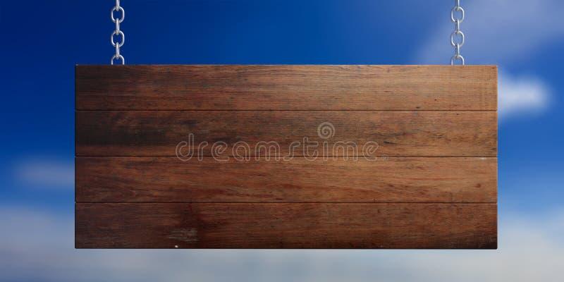 Ξύλινο κενό σημάδι που απομονώνεται στο υπόβαθρο μπλε ουρανού τρισδιάστατη απεικόνιση διανυσματική απεικόνιση