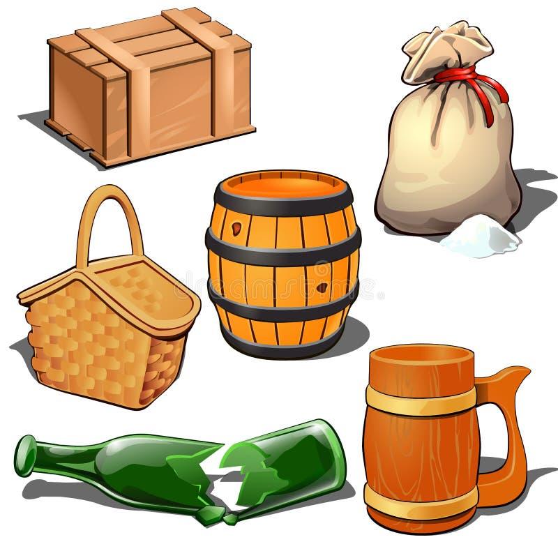 Ξύλινο κιβώτιο, βαρέλι, σάκος καμβά με το μαζικό προϊόν, καλάθι πικ-νίκ, σπασμένο μπουκάλι και θεματικά έξι εικονίδια κουπών μπύρ διανυσματική απεικόνιση