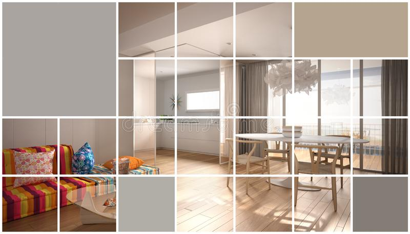 Ξύλινο κοντινό πλάνο, σύγχρονο έγχρωμο σαλόνι με καναπέ και τραπέζι, επιφάνεια παρκέ Μινιμαλιστική σχεδίαση εσωτερικού ζεν απεικόνιση αποθεμάτων