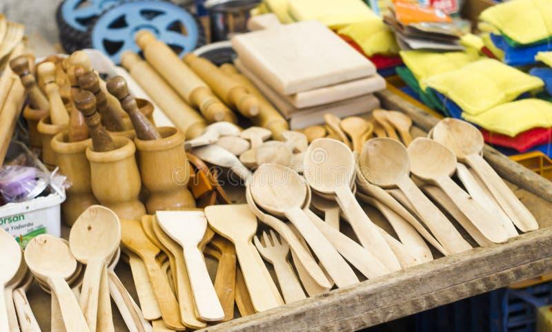 Ξύλινο κουτάλι στην τουρκική οδό bazaar στοκ φωτογραφία με δικαίωμα ελεύθερης χρήσης