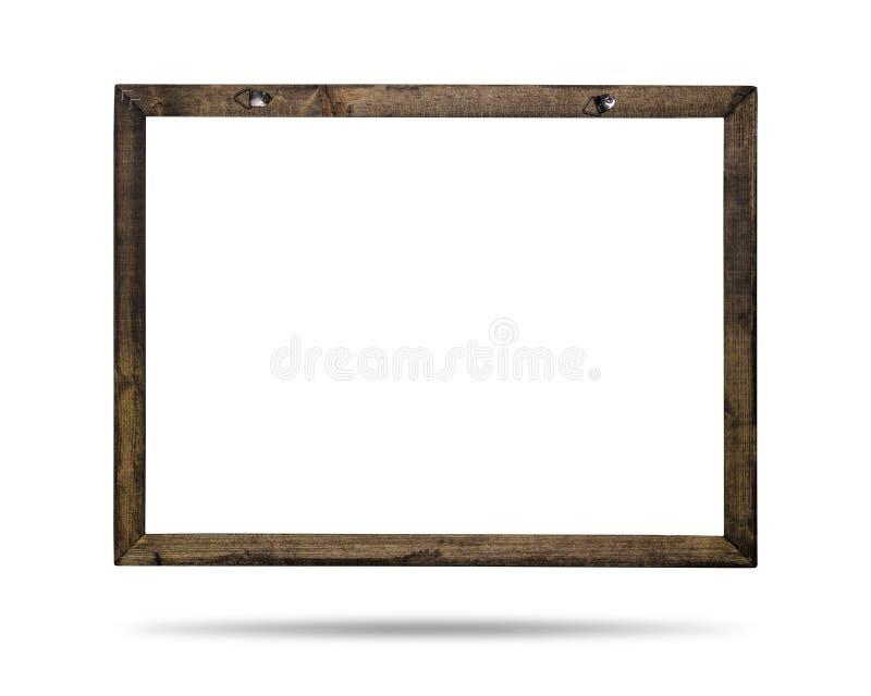 Ξύλινο πλαίσιο που απομονώνεται στο άσπρο υπόβαθρο Πρότυπο των συνόρων για το σχέδιό σας ( ελεύθερη απεικόνιση δικαιώματος