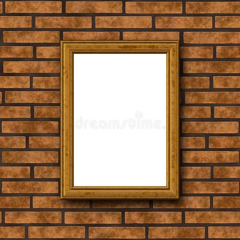 Ξύλινο πλαίσιο στο τουβλότοιχο απεικόνιση αποθεμάτων