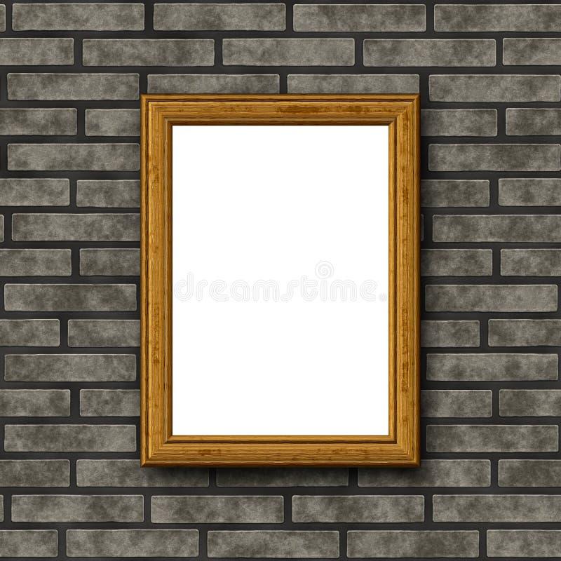 Ξύλινο πλαίσιο στο τουβλότοιχο διανυσματική απεικόνιση