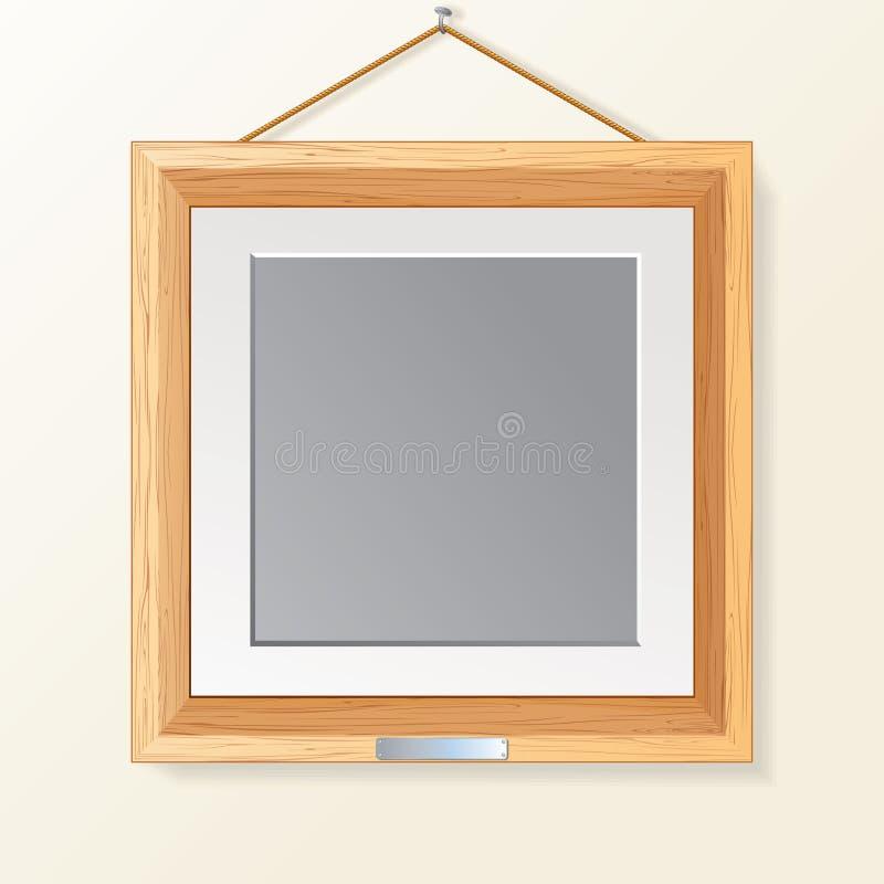 Ξύλινο πλαίσιο φωτογραφιών διανυσματική απεικόνιση