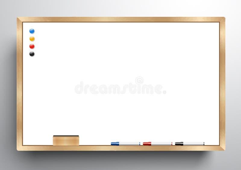 Ξύλινο πλαίσιο Whiteboard με τη γόμα whiteboard, το δείκτη χρώματος και τη μαγνητική, διανυσματική απεικόνιση διανυσματική απεικόνιση
