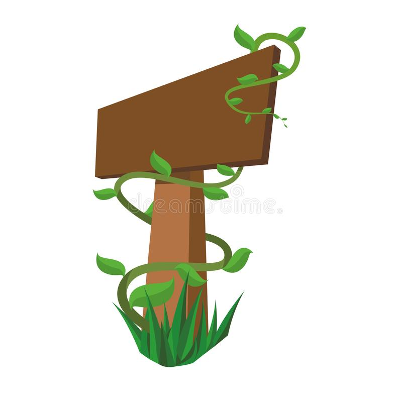 Ξύλινο σήμα με τους κλάδους οικολογίας ελεύθερη απεικόνιση δικαιώματος