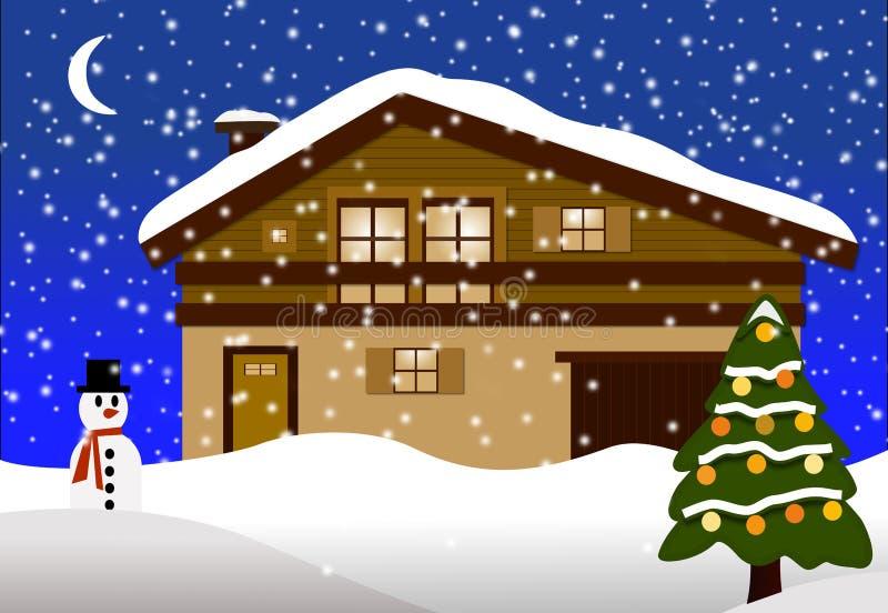 Ξύλινο σαλέ με ένα χριστουγεννιάτικο δέντρο ελεύθερη απεικόνιση δικαιώματος