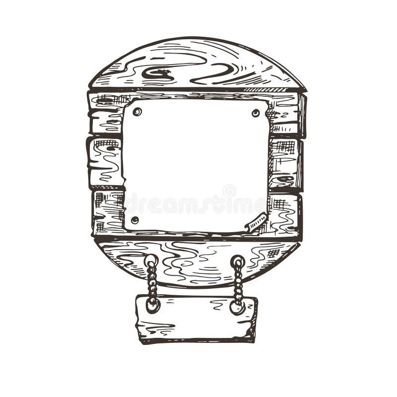 Ξύλινο σημάδι Γραφική παράσταση σκίτσων Υπόβαθρο θαλασσίων περίπατων E απεικόνιση αποθεμάτων