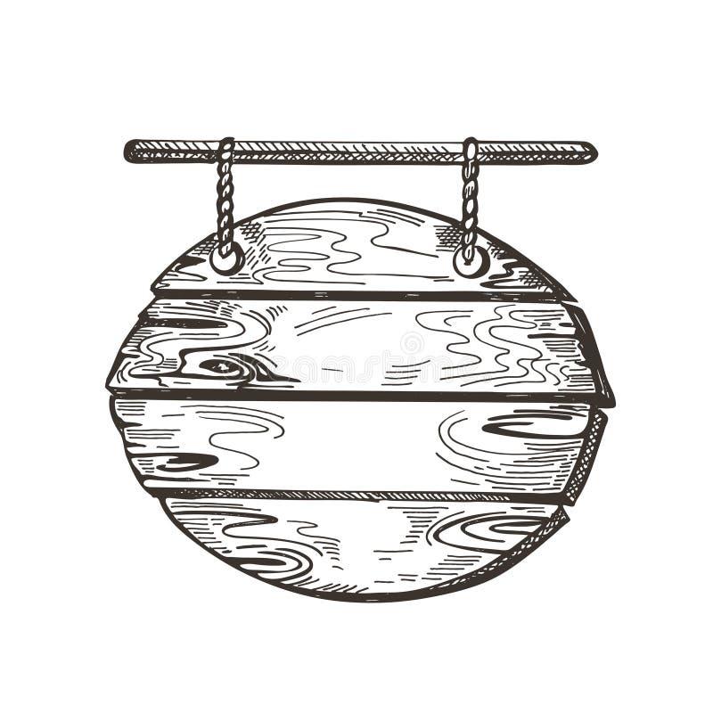 Ξύλινο σημάδι Γραφική παράσταση σκίτσων Υπόβαθρο θαλασσίων περίπατων E ελεύθερη απεικόνιση δικαιώματος