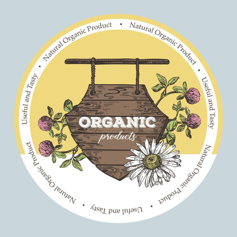 Ξύλινο σημάδι και άγρια λουλούδια Απεικόνιση ύφους σκίτσων Κατάλληλος για το σχέδιο των φυσικών προϊόντων και των καλλυντικών διανυσματική απεικόνιση