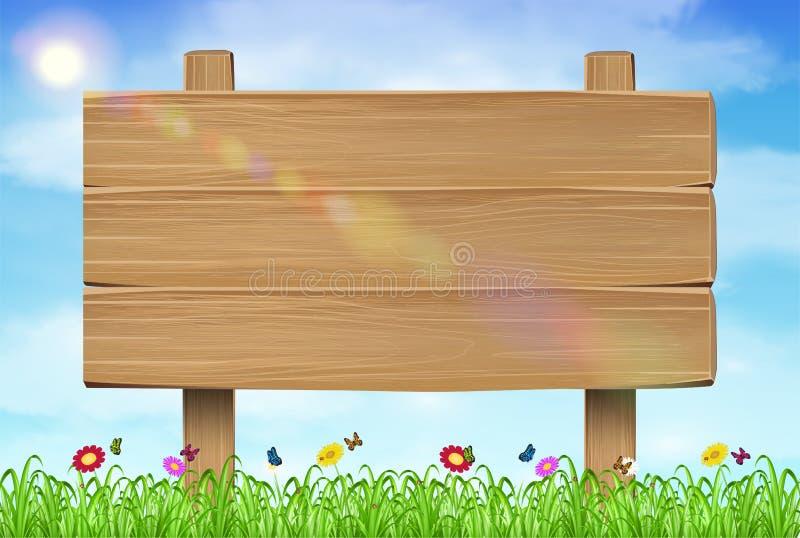 Ξύλινο σημάδι πινάκων στο υπόβαθρο ουρανού χλόης απεικόνιση αποθεμάτων