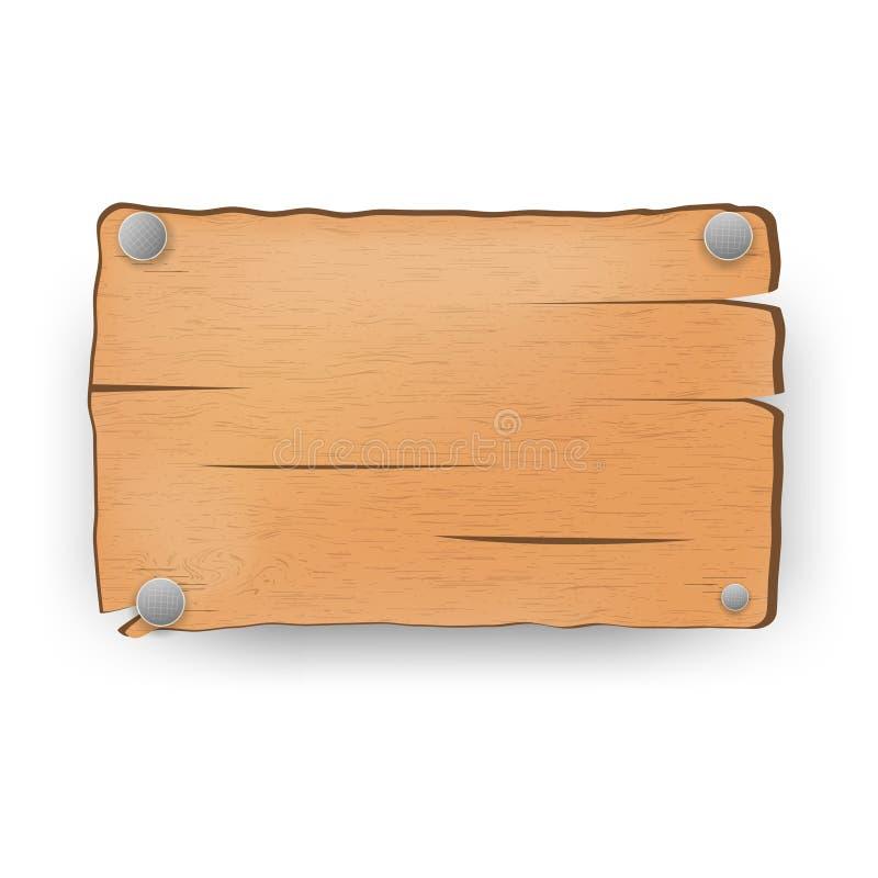Ξύλινο σημάδι, πινακίδα, πιάτο, σημάδι διάνυσμα στοκ εικόνα
