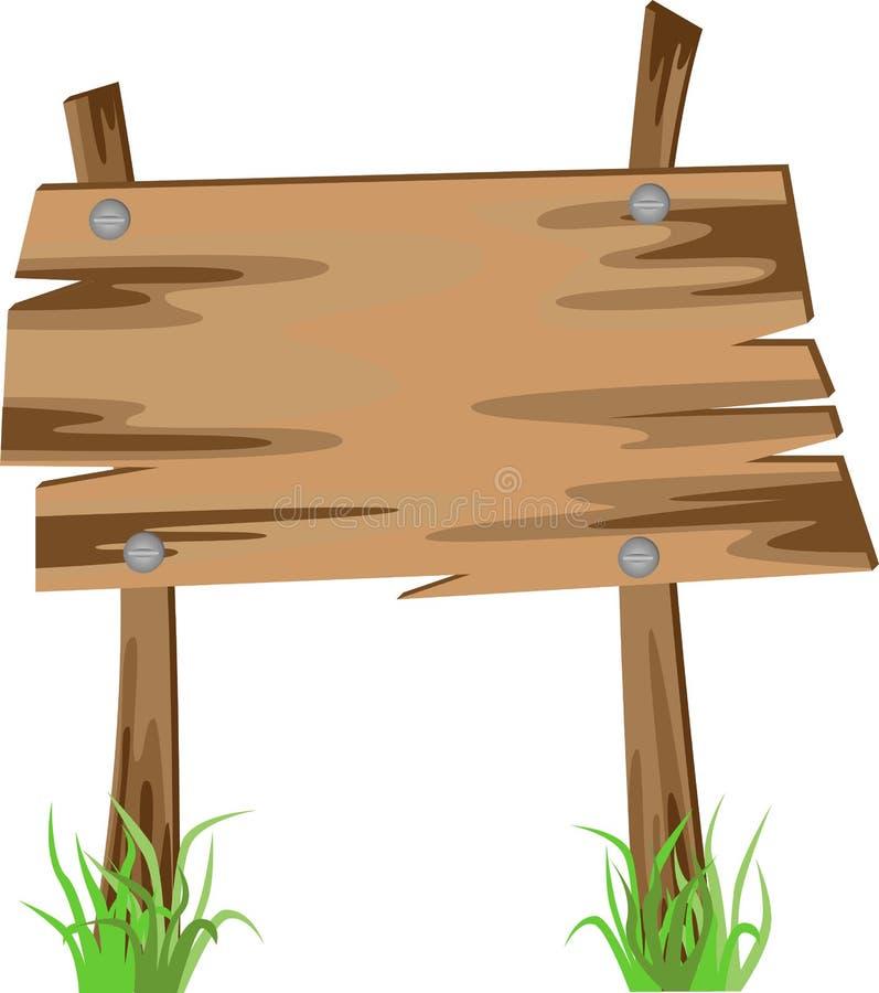 Ξύλινο σημάδι σε μια χλόη διανυσματική απεικόνιση