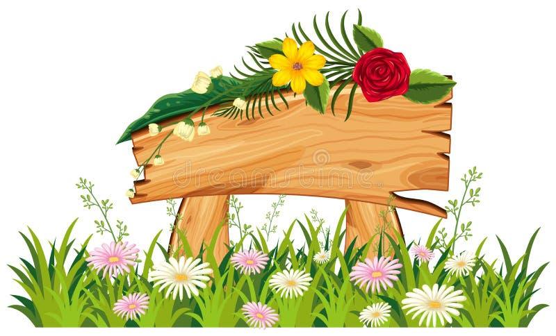 Ξύλινο σημάδι στη χλόη με τα λουλούδια διανυσματική απεικόνιση