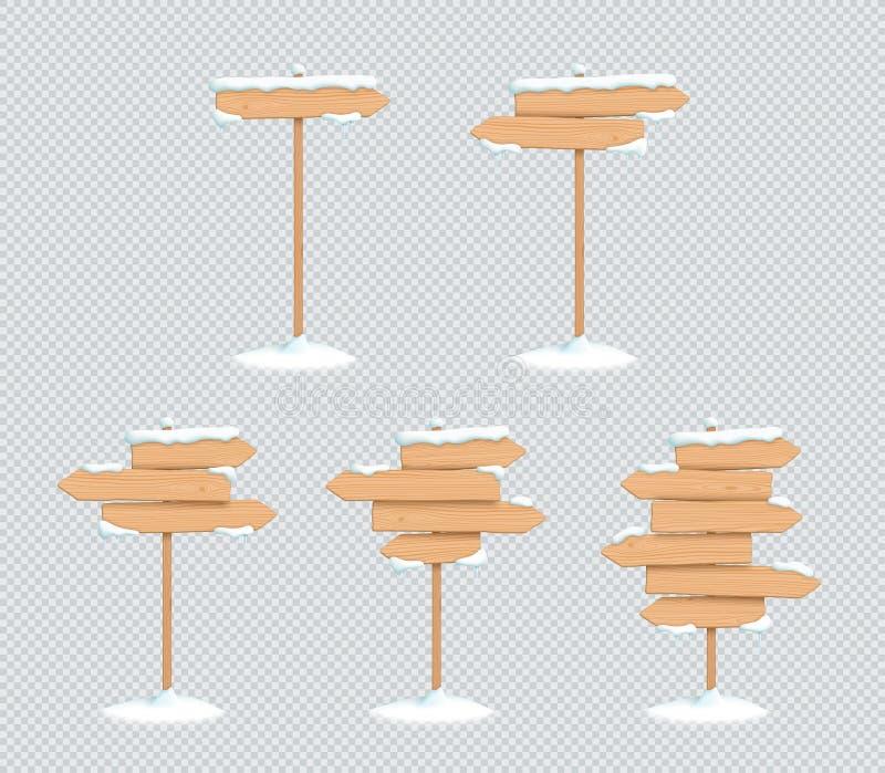 Ξύλινο σημαδιών μετα σύνολο βελών κατεύθυνσης χειμερινού χιονιού τρισδιάστατο απεικόνιση αποθεμάτων