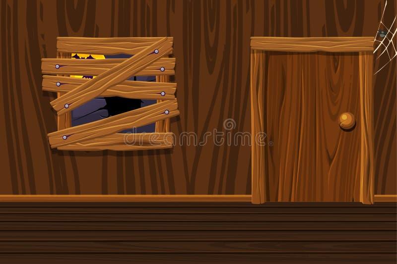 Ξύλινο σπίτι, εσωτερικό δωμάτιο απεικόνισης με το παλαιό παράθυρο και πόρτα ελεύθερη απεικόνιση δικαιώματος