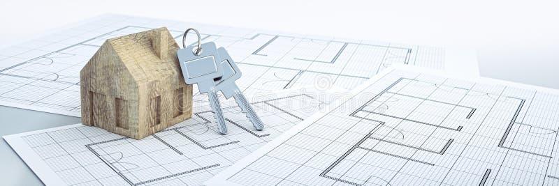 Ξύλινο σπίτι παιχνιδιών με τα ασημένια κλειδιά διανυσματική απεικόνιση