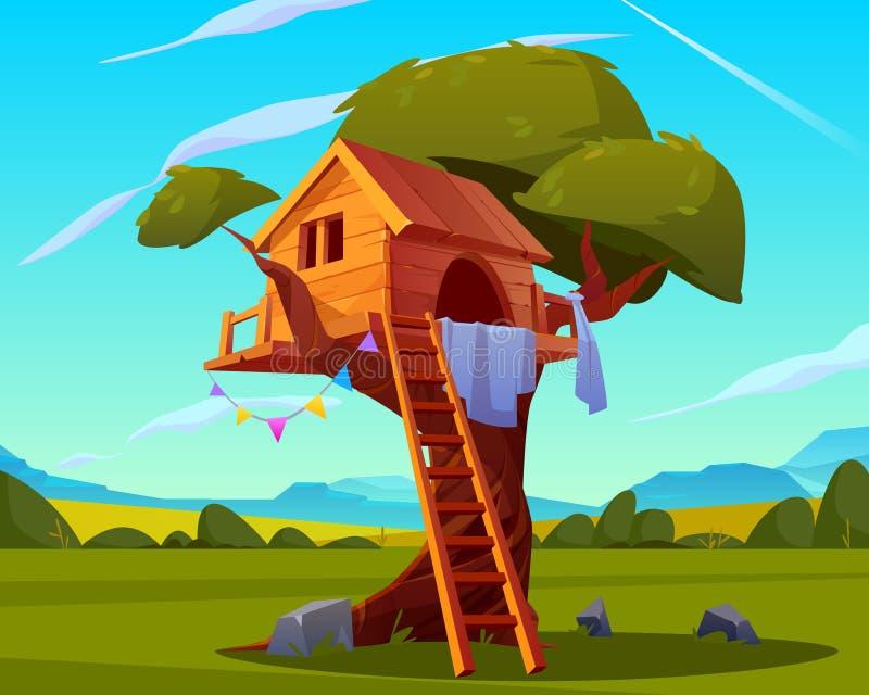 Ξύλινο σπίτι στο δέντρο, κενή παιδική χαρά παιδιών ελεύθερη απεικόνιση δικαιώματος