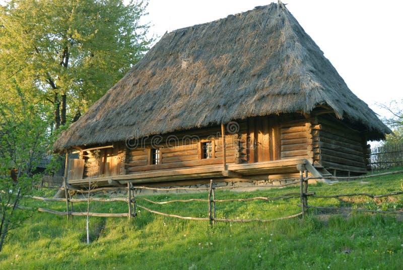 Ξύλινο σπίτι thatched-στεγών στοκ εικόνα