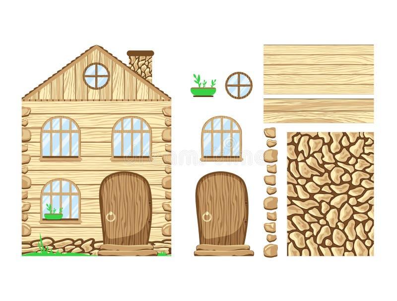 Ξύλινο σπίτι wonderland Σύνολο clipart ελεύθερη απεικόνιση δικαιώματος