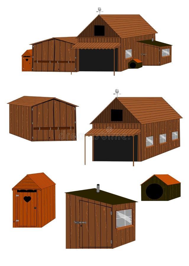 Ξύλινο σύνολο αγροτικού κτηρίου ελεύθερη απεικόνιση δικαιώματος