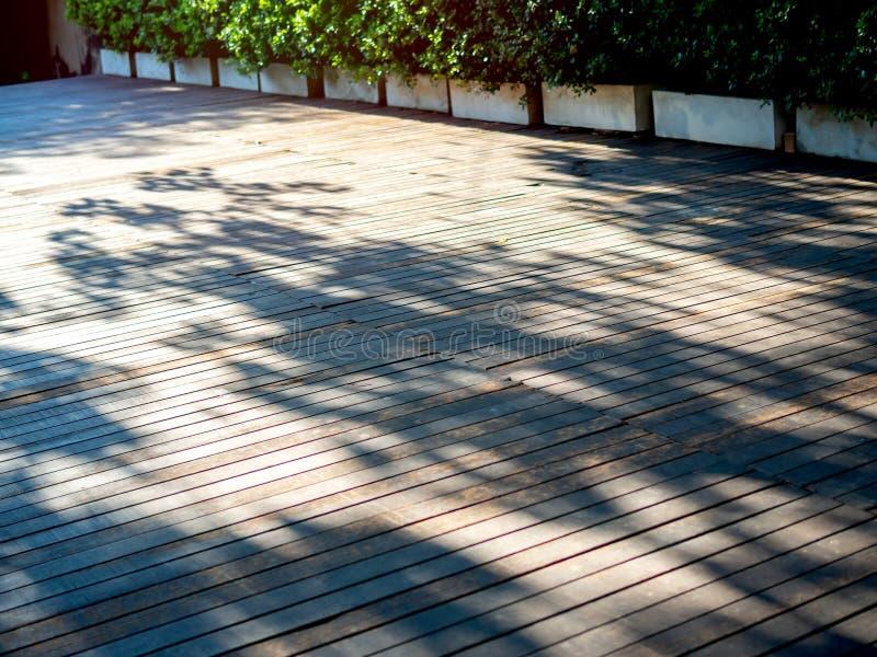 Ξύλινο υπαίθριο πεζούλι πατωμάτων με την ηλιοφάνεια και σκιά από το δέντρο στοκ εικόνα με δικαίωμα ελεύθερης χρήσης