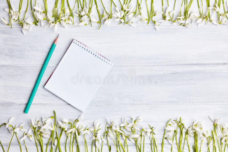 Ξύλινο υπόβαθρο με το πλαίσιο snowdrops και το κενό σημειωματάριο στοκ φωτογραφία με δικαίωμα ελεύθερης χρήσης