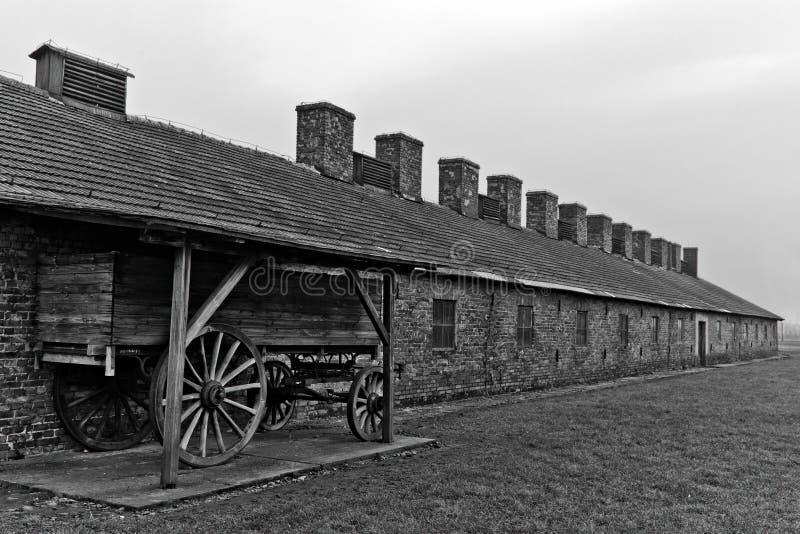 Ξύλινο φορτίο κάρρων σε Auschwitz Birkenau 2 στοκ φωτογραφίες
